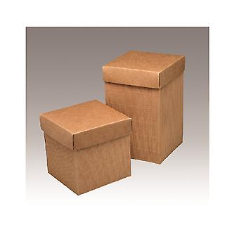 10 Corrugated Kraft Card Gift Boxes with Lids - 12x12x19cm