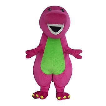mascot SPOTSOUND of pink and green, giant, plump and funny dinosaur