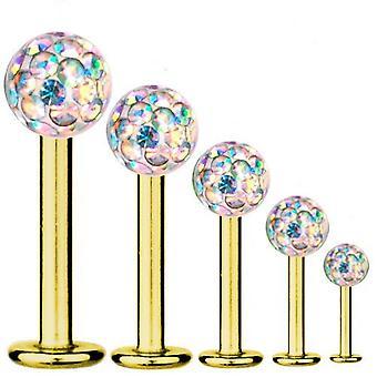 Labret-Bar Piercing Gold vergoldet Titan 1,6, Multi Kristallkugel Aurora Borealis   5-16 mm
