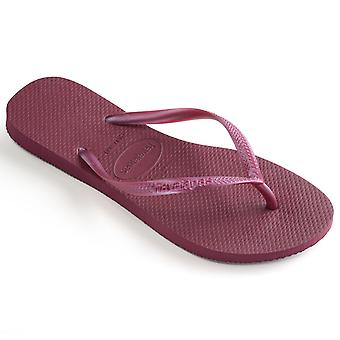 Womens Havaianas Slim Beetroot Rubber Brazil Summer Beach Flat Flip Flops
