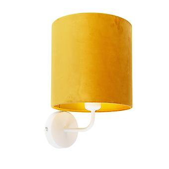 QAZQA Vintage Wall Lamp White with Shade 20/20/20 Velvet Ochre with Gold