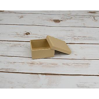 Single Paper Mache Rectangular Box with Lid to Decorate - 7.5cm