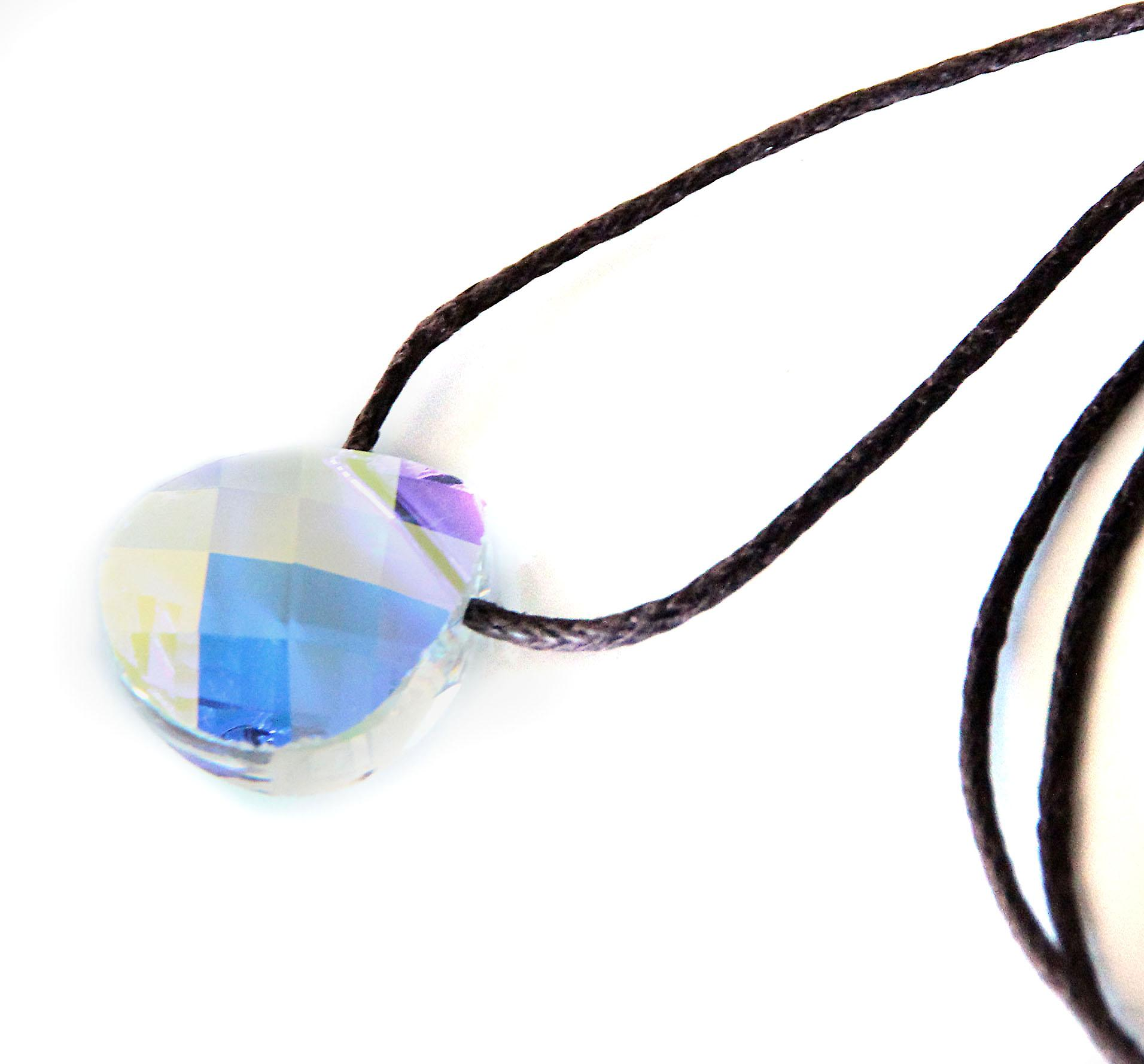 Waooh - Jewelry - Swarovski / pearl pendant petal blue reflection and waxed cord