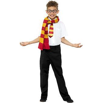 Wizard Schoolboy Kit, Scarf/Tie/Glasses, Fancy Dress, Medium Age 7-9