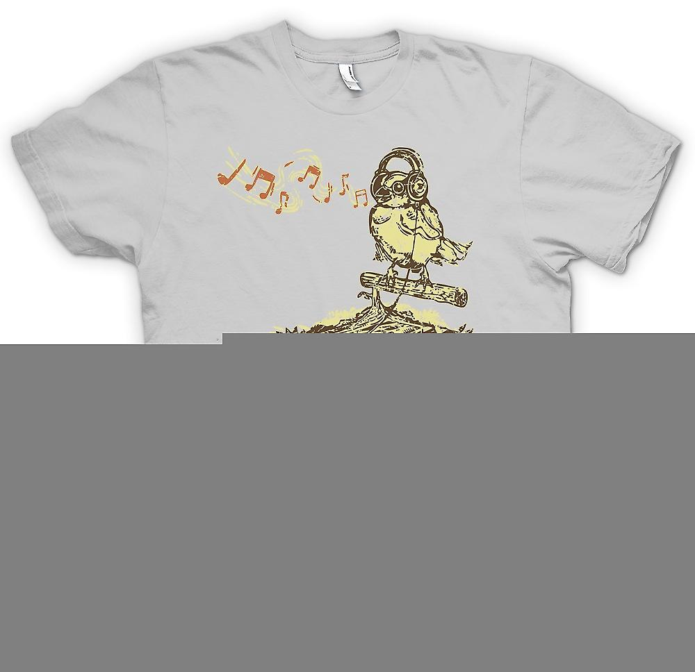 Heren T-shirt-zangvogel luisteren naar Tape Deck