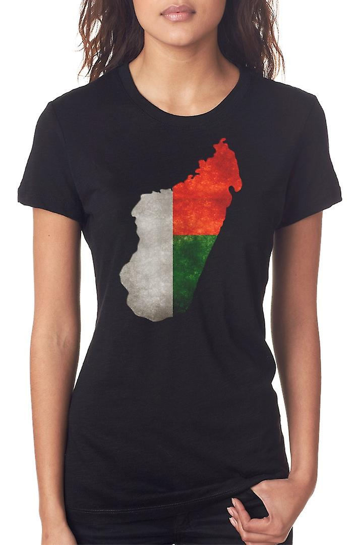 Madagascar Flag mappa Ladies T Shirt