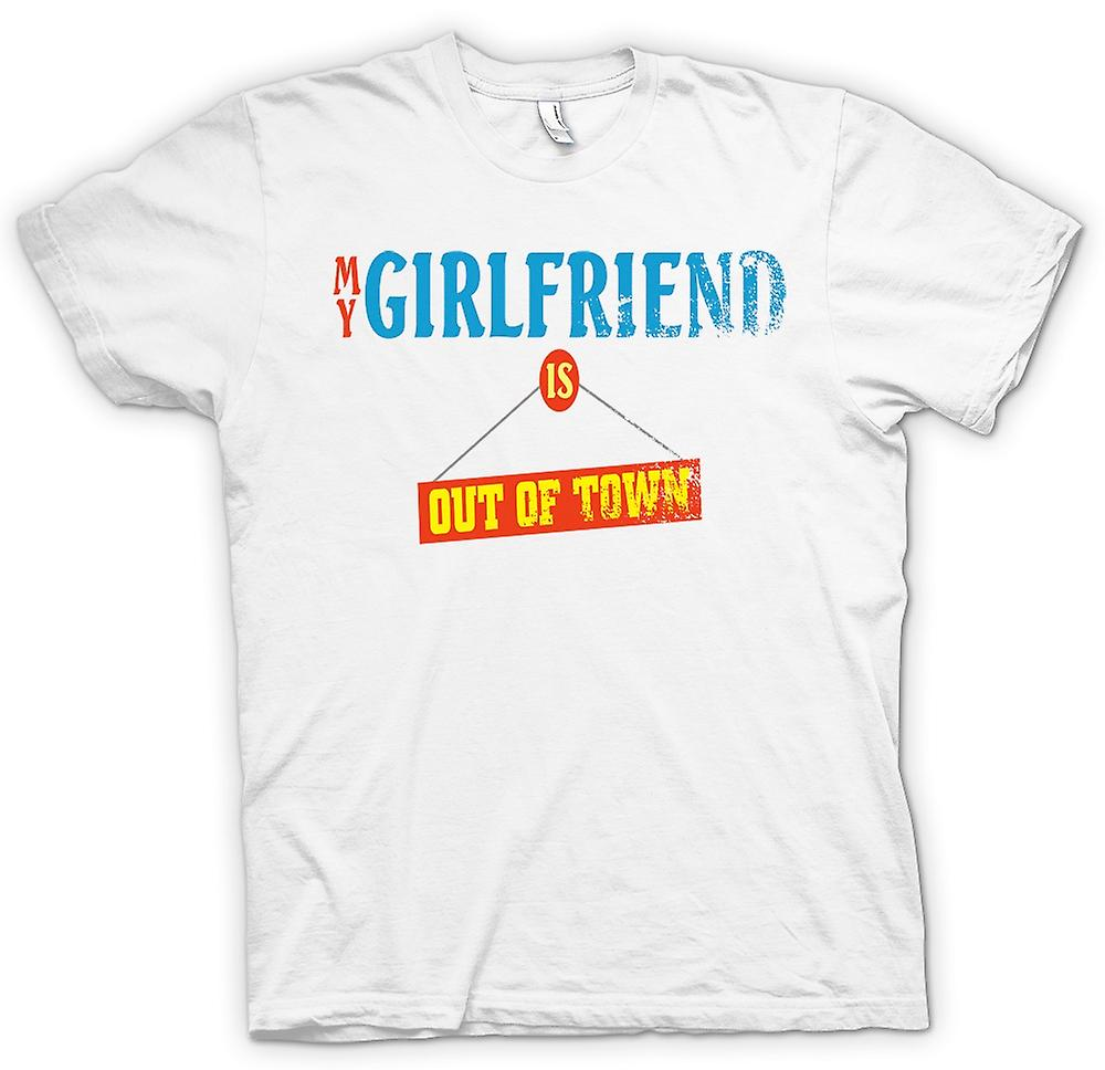 Mens T-shirt - My Girlfriend Is Out Of Town - Joke