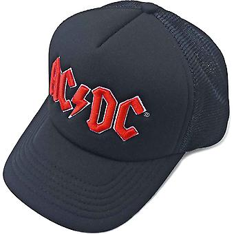 AC/DC Baseball Cap classic Red Band Logo new Official Black Mesh Trucker