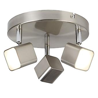 Satin Silver Three Light Led Spotlight On Plate