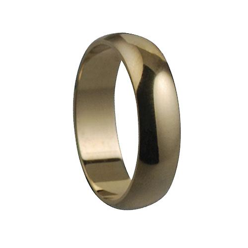 9ct Gold plain D shaped Wedding Ring 5mm wide in Size P