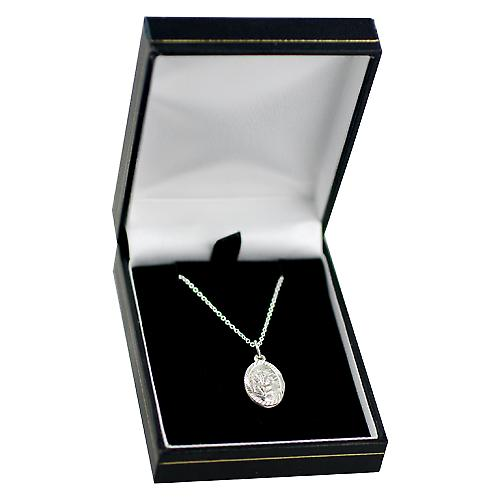 Silver 17x11mm oval diamond cut edge St Christopher with Rolo chain