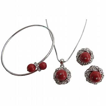 Christmas Gift in Red Pearl Pendant Necklace Earrings & Bracelet