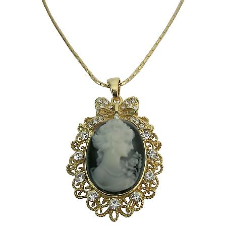 Golden Framed Cameo Pendant Necklace Victorian Cameo Lady Pendant