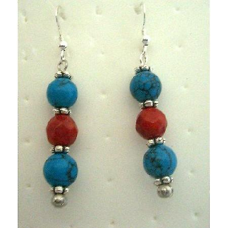 Handmade Turquoise & Coral Red Beads Handcrafted Pierced Earrings Gift