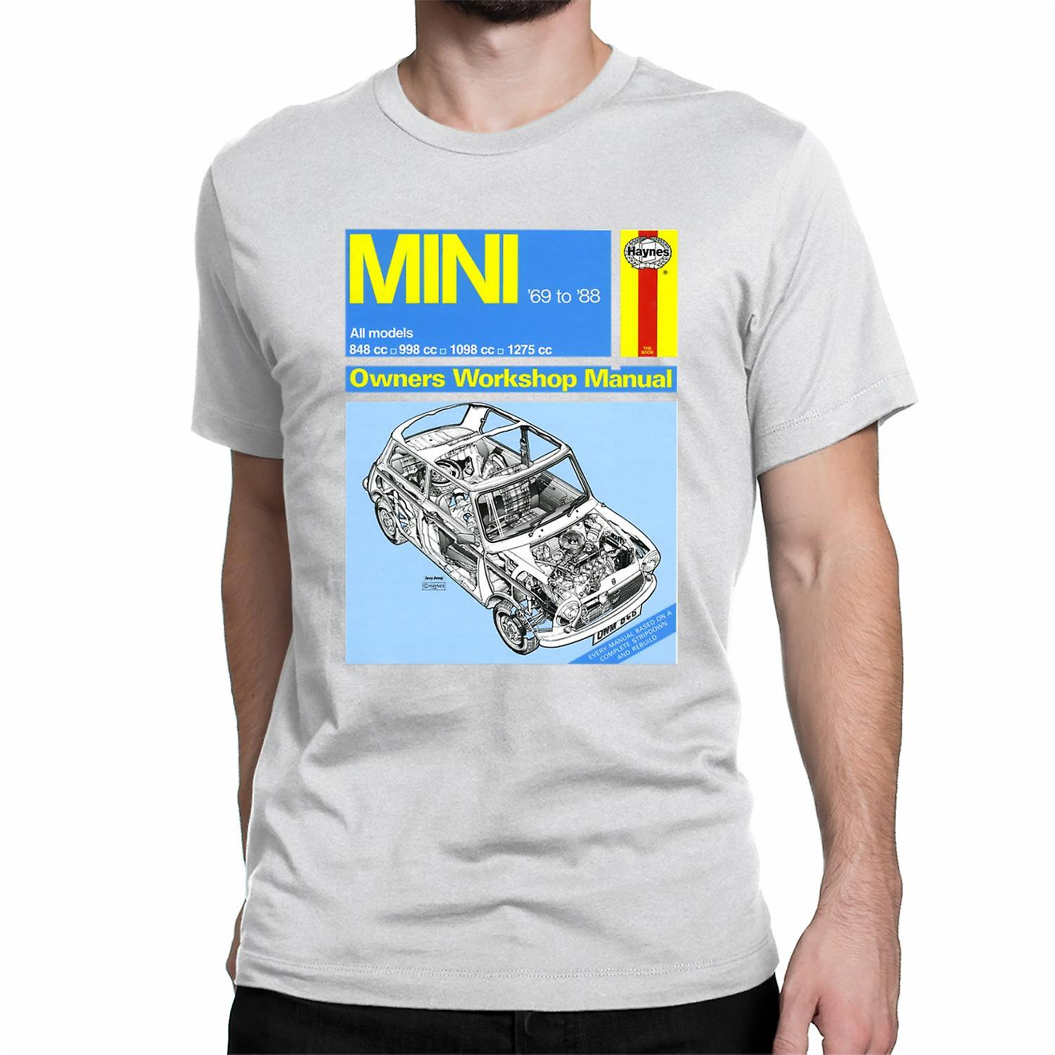 Official Haynes Manual Unisex T-shirt MINI 1969 to 88 All models Owners Workshop Manual