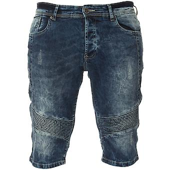 Mens Denim Biker Jeans Summer Shorts Blue | Enzo Designer Menswear