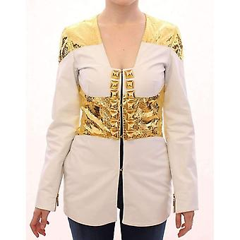 Vladimiro Gioia White Gold Metallic Leather Jacket -- GSS1831557