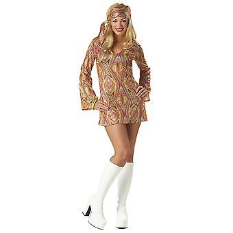 Disco Dolly 1960s 1970s Hippie Hippie Retro-Go Pailletten Kleid Damen-Kostüm