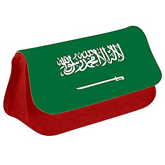 Saudi Arabia Flag Printed Design Pencil Case for Stationary/Cosmetic - 0152 (Red) by i-Tronixs