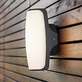 LuTec Seco 8W luz de pared LED Exterior en grafito