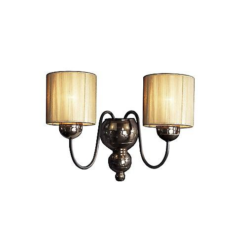 David Hunt GAR0964 Garbo Double Wall Bracket In A Bronze Finish With Gold String Shades