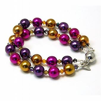 Kleshna Knot Pansy Simulated Pearl & Rhinestone Bracelet  Magnetic Closure