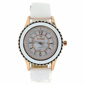 Golddigga Ladies Crystal rose Gold White Patent PU Strap Fashion Watch DIG63B