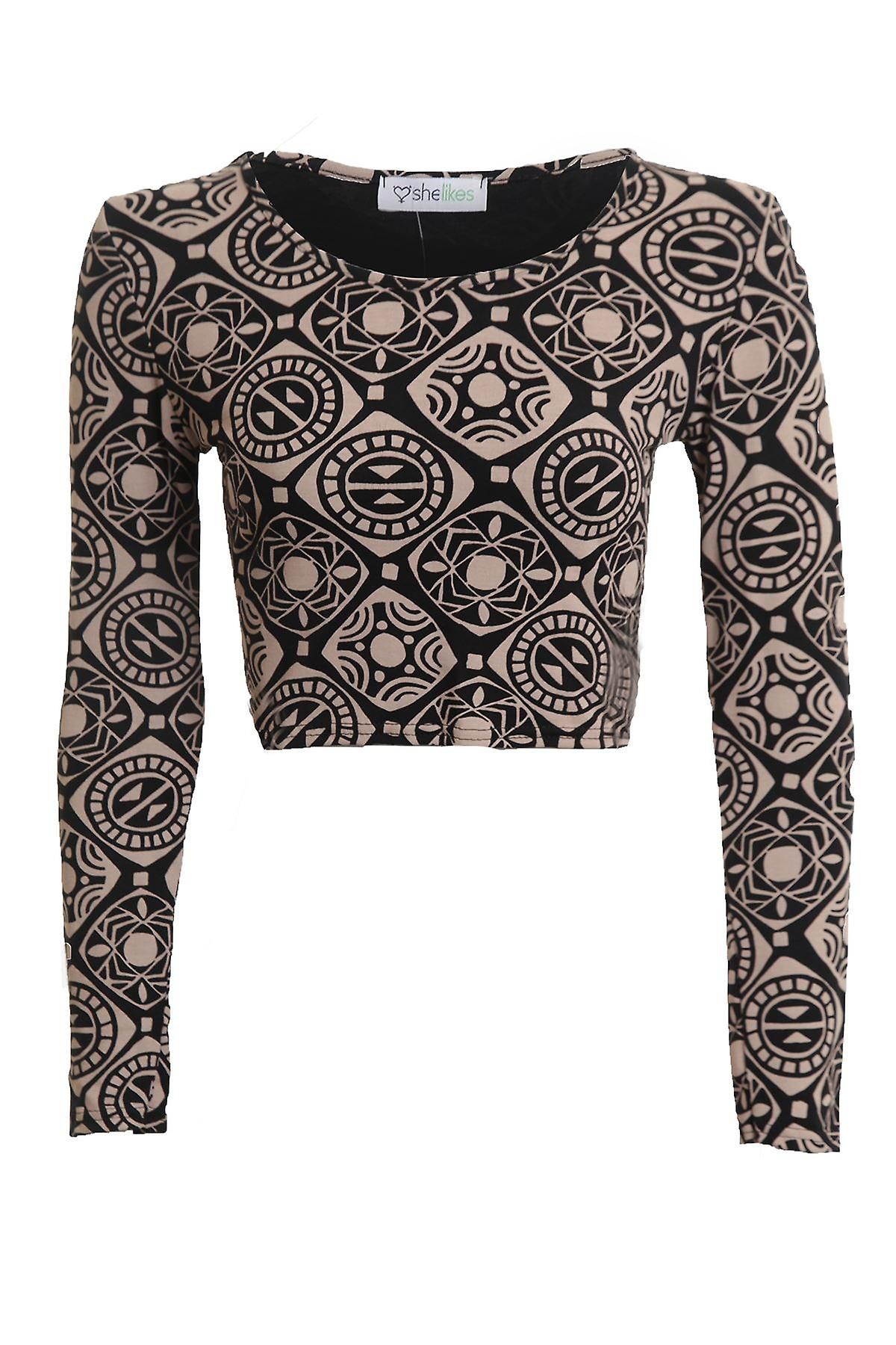 New Ladies Long Sleeve Funky Galaxy Paisley Print Women's Crop Top