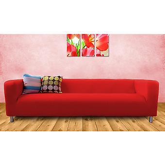 Housse de coton de remplacement pour IKEA Klippan canapé 4 places-rouge