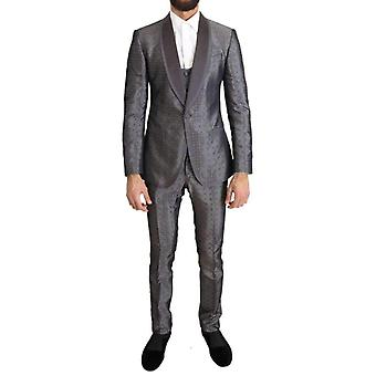 Silver Silk Baroque Single Breasted Suit -- KOS1476080