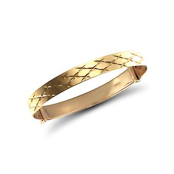 Jewelco London Baby Solid 9ct Yellow Gold Diamond Cut 5mm Expanding Bangle Bracelet
