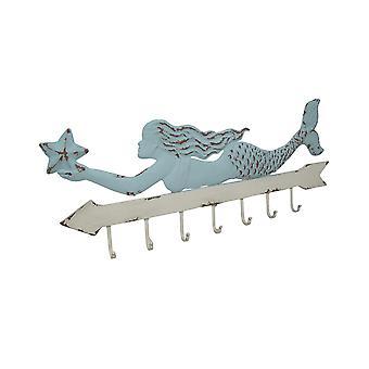 Distressed Finish Metal Mermaid 7 Hook Wall Rack 41 Inches Long