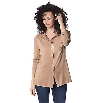 Beige long sleeve shirt with lace up detail
