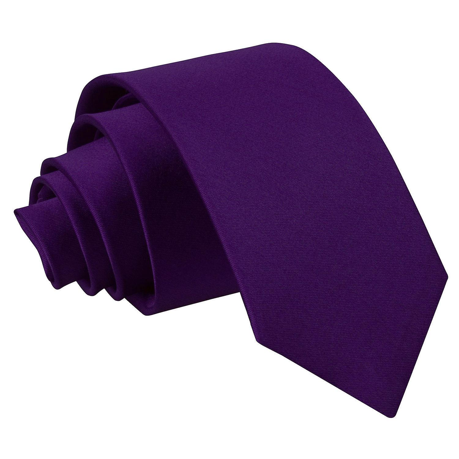 Purple Plain Satin Slim Tie