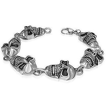 Urban Male Chunky Stainless Steel Skull Head Bracelet