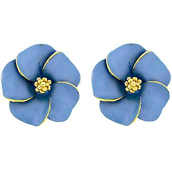 Gold Plated Matt Blue Daisy Flower Stud Earrings