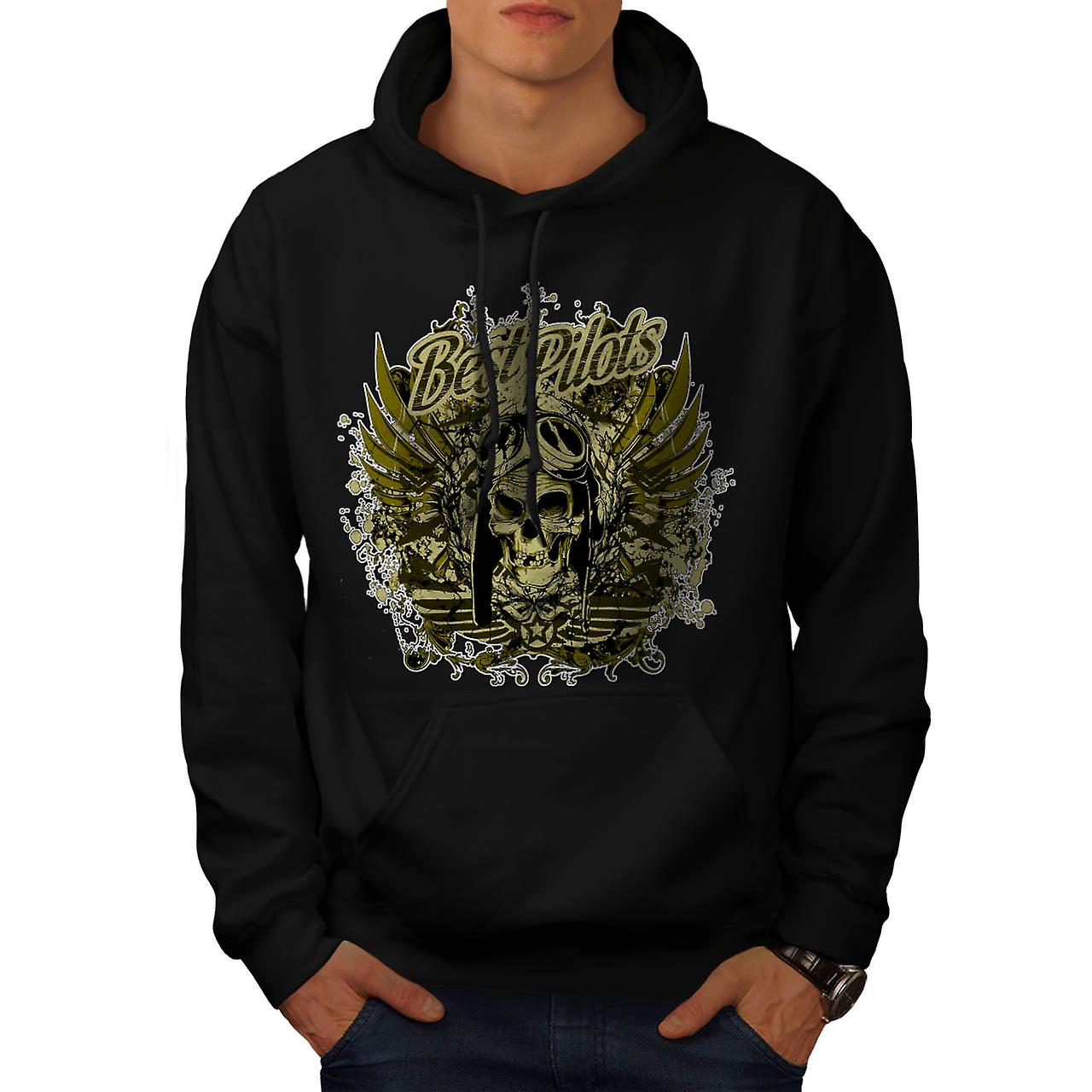 Best Pilot Fly Plane Flight Hell Men Black Hoodie | Wellcoda