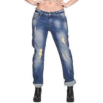 Lockere Baggy Distressed Vintage Wash verblasst Riss Boyfriend-Jeans - blau