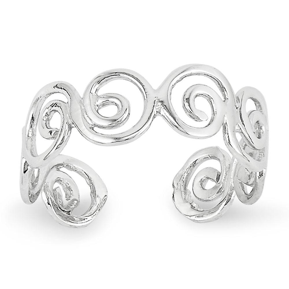 14k blanc or Polished Swirl Toe Ring - 1.2 Grams