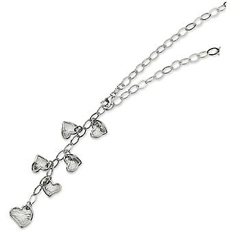 Sterling Silver Fancy Heart Necklace - 14.1 Grams