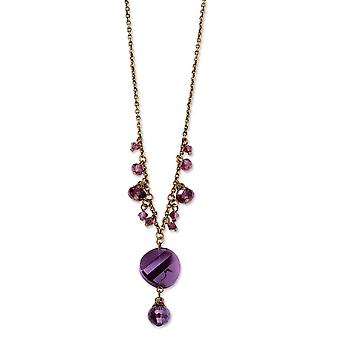 Rose-tone Dark Red Crystal Drop 16 Inch With ext Necklace