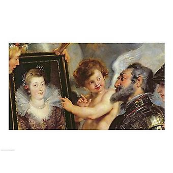 The Medici Cycle Henri IV Receiving the Portrait of Marie de Medici detail Poster Print by Peter Paul Rubens
