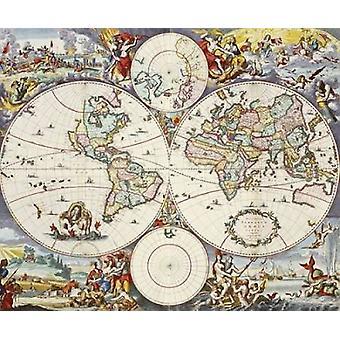 Karte von Welt Poster Print von Cornelis Danckerts