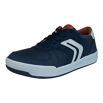 Geox J Rolk B Boys Suede + Geobuck Lace Up Trainers / Shoes - Navy