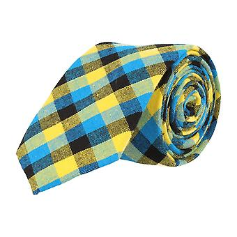 Mr. icone narrow tie dark blue Plaid light blue yellow