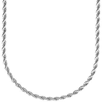 Fashion unisex rope cord chain - 3 mm silver