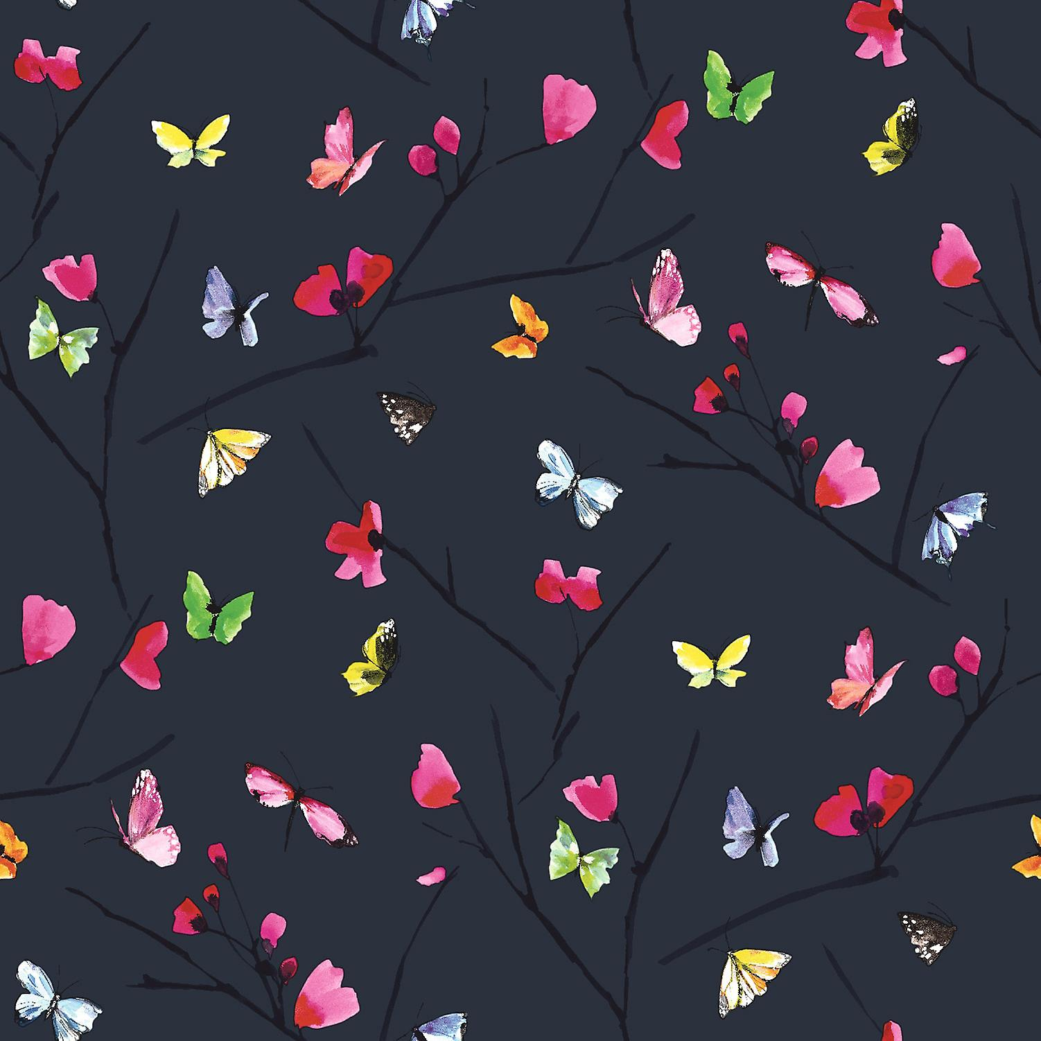 Butterfly Wallpaper Flower Leaf Natural Nature Midnight Blue Multicoloured