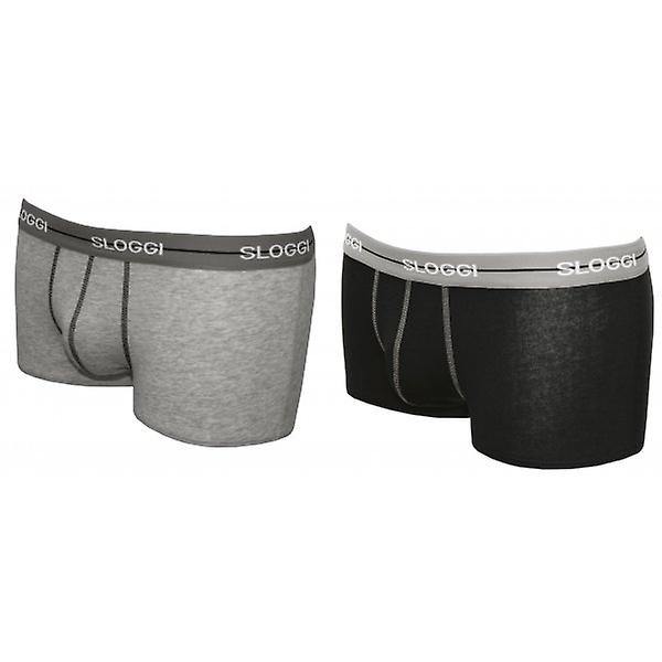 Sloggi 2-Pack Start Hipster Boxer Trunks, Grey/Black