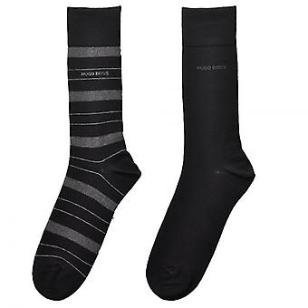 HUGO BOSS 2-Pack Cotton Logo Socks, Black/Grey Stripe, 39/42