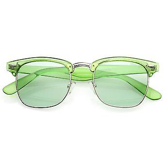 Klassiske gennemskinnelige Horn kantede firkantede farve tonet linse halv ramme solbriller 49mm